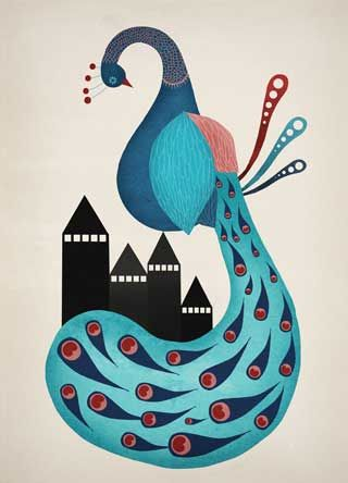 poster-peacock-påfugl-print-collage-kunst-art-plakat-illustration